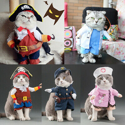 Pet Small Dog Cat Pirate Jumpsuit  Costume Outfit Christmas Cosplay Clothes