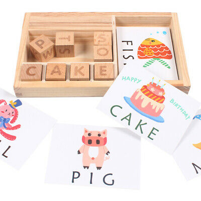 Baby 3-in-1 Spelling Learning Game Wooden English Spelling Words Enlightenment++
