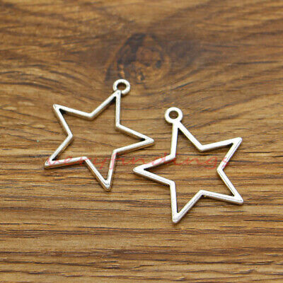 20 Large Star Charms Pendants Double Sided Celestial Charm Antique Silver 27x30