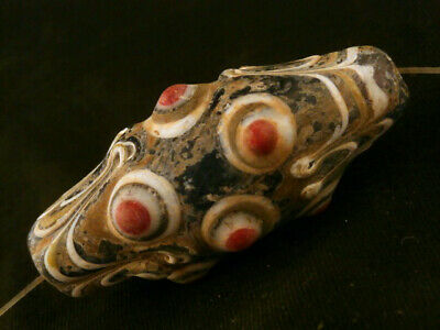 Wonderful Pure Tibetan Old Mosaic Glass Dzi Hand Carved *9Eyed* Bead K085