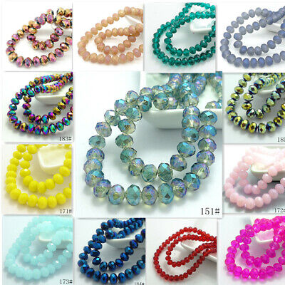 20pcs Rondelle Faceted Crystal Glass Loose Spacer Beads Wholesale 10mm