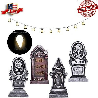 4PCs Halloween Foam RIP Graveyard Tombstone 17 Inches and 1PCs Ghost String Ligh