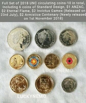 2018coin set50 20 10 Cent (RARE) 5c$1MOR,Anzac$2Elder,Armistice,Invictus,Eternal