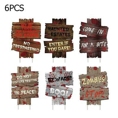 6* Zombie Haunted Cemetery Sidewalk Sign Halloween Props Horror Prop House Party