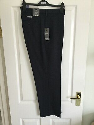 Indigo trousers from M&S W 40 L 29 Tailored fit Flat front Supercrease RRP 29.50