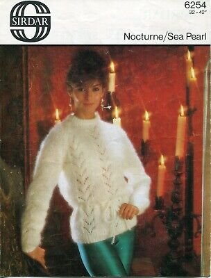 "Sirdar 6254 Lady Sweater Mohair 32-42"" Vintage Knitting Pattern"