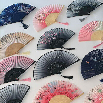 Vintage Chinese Hand Held Dance Folding Fan Silk Bamboo Flower Wedding Party Hot