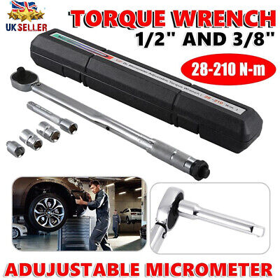 1/2 3/8 Ratcheting Torque Wrench 28 210Nm Socket Drive Ratcheting with Extension