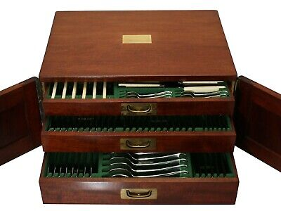 Antique Sterling Silver Canteen of Cutlery for Twelve Persons London 1929-1940
