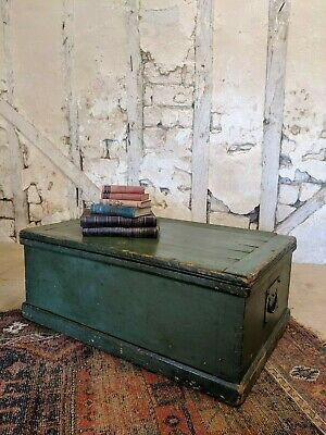 Antique Painted Pine Trunk, Chest Coffee Table