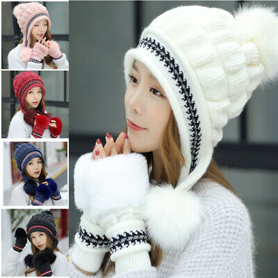 Fashion Women Winter Hat Gloves Set Warm Snow Hats Knitted Caps and Gloves Xmas