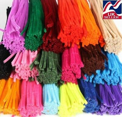50 pack MIXED COLOURS chenille craft stems pipe cleaners 30cm long, 6mm wide