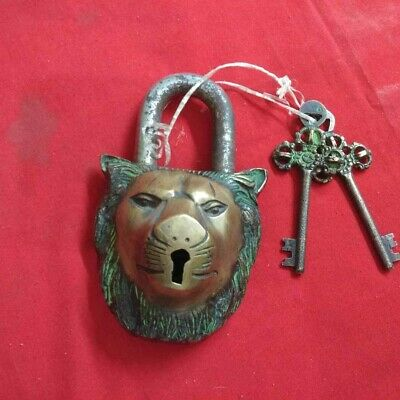 Antique Brass Lock Lion Face Working Condition With 2 Keys