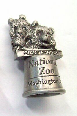 Vintage Pewter Washington, DC National Zoo Giant Pandas Souvenir Sewing Thimble