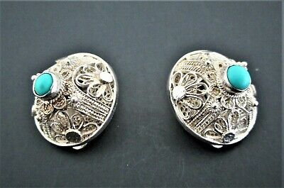 Chinese Sterling Silver and Turquoise Earrings