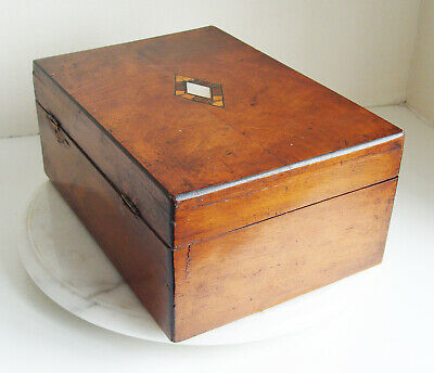 Antique Mother of pearl inlay wooden box Victorian - WITH LOCKING KEY
