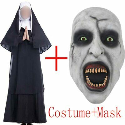 Halloween Movie The Nun Costume Mask Cosplay Adult Long Black Scary Nuns Ghost