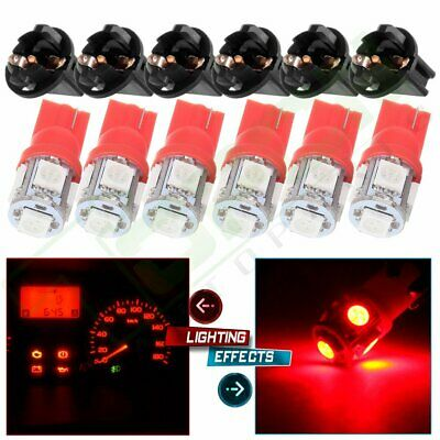 6 X Wedge Red T10 5050 LED Instrument Cluster Dash Panel Light With Lock Sockets