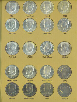 US Kennedy Half Dollars 1964-1979 Complete Set Includes Proof Silver UNC Dansco