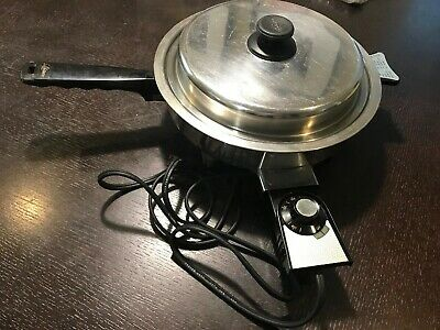 Vintage LIFETIME Cookware Stainless Steel Electric Skillet Waterless Oil Core