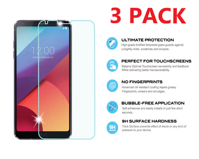 3-Pack Premium Tempered Glass Screen Protector Guard For LG G6