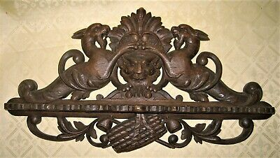 Antique German Black Forest Carved Wood Pipe Rack Holder Wall Mount Dragon