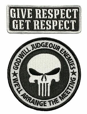 Give Respect Get Respect Punisher God Will Judge Patch (2PC Bundle Iron on Sew)