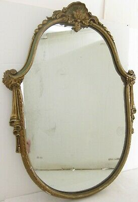 Victorian Rococo Style VTG 40/50s Mirror in Ornate Green / Gilt Wood Frame 25x33