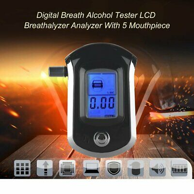 Digital Breath Alcohol Tester LCD Breathalyzer Analyzer With 5 Mouthpiece#led7