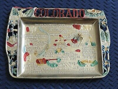 Vintage COLORADO SOUVENIR map  ashtray pin tray metal Made in Japan