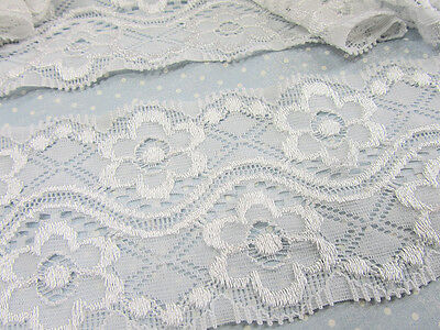 "10 yard White Elastic/Spandex Daisy Floral 2.5"" Soft Lace Trim/sewing/dress T183"