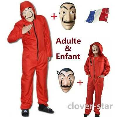 FR La casa De Papel Costume Mask Enfant/adulte Salvador Dali Money Heist Cosplay