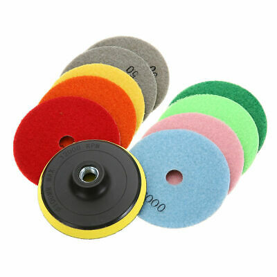 10 Pcs Set Diamond Polishing Pads 4 inch Wet Dry Granite Concrete Marble 5/8-11