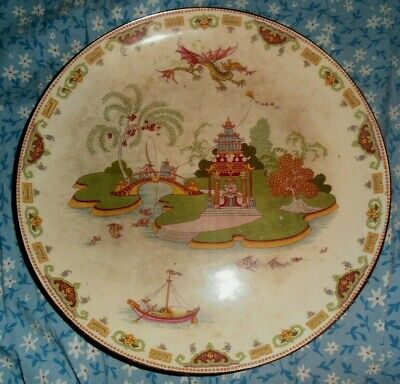 """10 1/4"""" Antique Chinese Porcelain Plate with dragon pagoda fish kite OLD"""