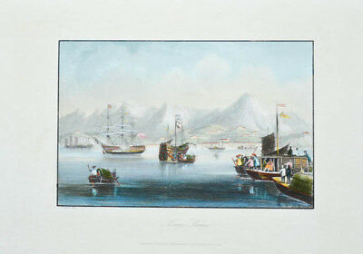 c1850 China Hong-Kong harbor Coloured engraved view Payne Graham