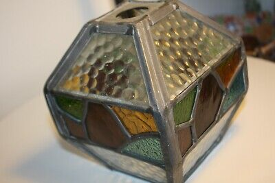 Antique Stained Leaded Glass Porch Lantern / Lampshade