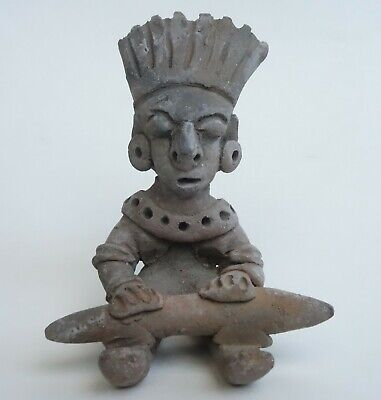 Vtg MEXICAN PRIMITIVE CLAY POTTERY STATUE AZTEC MAYAN FIGURINE PreColumbian MAN