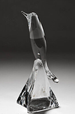 Daum Clear Crystal Art Glass Figure Of A Leaping Dolphin - 20th Century French