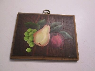Hand Painted Wood Wall Hanging Plaque Tole Painting Apple Grapes Pear Signed