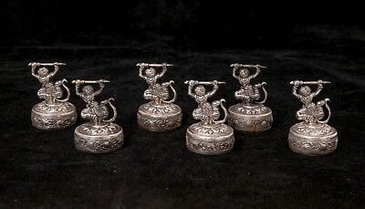 Six Vintage French Colonial Cambodian Khmer Warrior 800 Silver Menu Card Holders