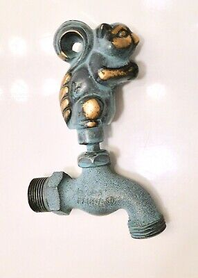 Flora & Fauna Solid BRASS SQUIRREL FAUCET w/GREEN PATINA Animal Water Spigot