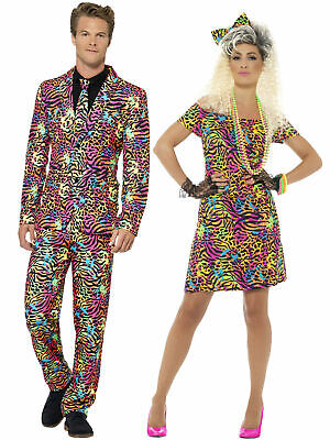 80s Fancy Dress Costume Party Animal Neon Rave Womens Mens Outfit Suit Adults