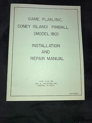 Game Plan Coney Island Pinball Installation and Repair Manual