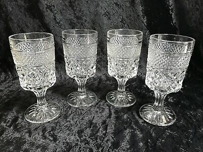 """Anchor Hocking WEXFORD 6 5/8"""" tall Water Glasses/Stems - Set of 4"""