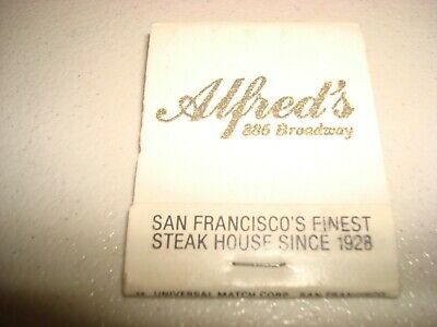 Rare Vintage Matches Alfred's Steak House Since 1928 San Francisco CA Original!