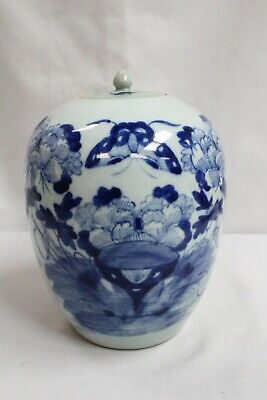 19c Chinese Porcelain  Blue White Flowers Butterfly Bats Lidded Tea Caddy Jar