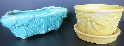2 Pc Vintage Mccoy Pottery Turquoise Green Planter & Yellow Flower Pot