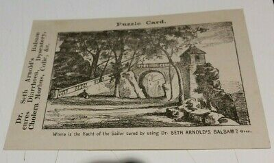 Victorian Trade Card Dr Seth Arnolds Balsam Gilman Brothers Boston Puzzle Card