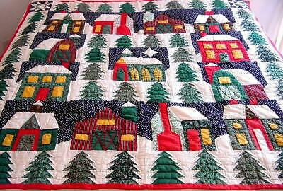 Vtg Hand Stitched Log Cabin Pine Tree Country Xmas Quilt Wall Hanging 52x50