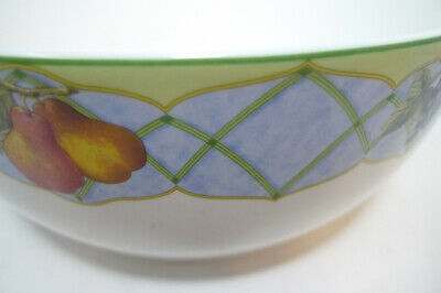 "Mikasa Optima FRUIT RAPTURE Large Serving Bowl  9.5""D Lemons Cherries Grapes"